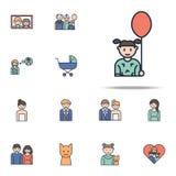 E Grupo universal dos ícones da família para a Web e o móbil ilustração do vetor