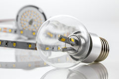 E27 and GU10 bulbs also strips without silicone protection Royalty Free Stock Photography