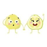 E Gulliga par för fruktvektortecken som isoleras på vit bakgrund Roliga emoticonsframsidor illustration Arkivfoton