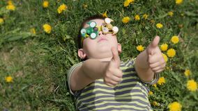 E gyckel p? gatan Pojke p? en bakgrund av gula blommor, maskrosor stock video