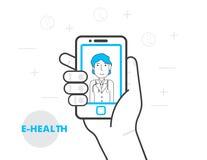E-hälsa och telemedicinebegrepp Royaltyfri Bild