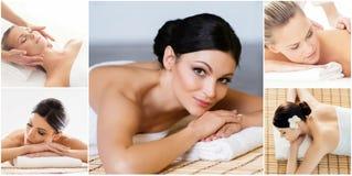 E H?lso-, medicin- och rekreationcollage L?ka och massera begrepp royaltyfria foton