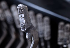 E hammer - old manual typewriter - cold blue filter Stock Photography