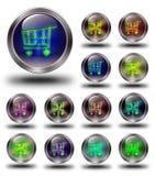 E- handels glanzende pictogrammen, gekke kleuren Royalty-vrije Stock Afbeeldingen