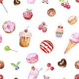 E handen målade sötsaker och fester på vit bakgrund stock illustrationer