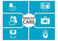 E-health care background with symbols of modern devices like smart phone, tablet, digital medical record Stock Photos