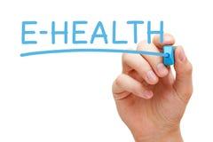 E-Health Hand Blue Marker Stock Image