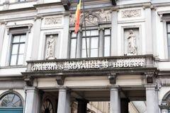 E 02 19: Het nieuwe ledenvoorzijde van galerij Koninklijke Heilige Hubert in Brussel stock afbeelding
