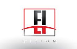 E-I E-I Logo Letters avec des couleurs et le bruissement rouges et noirs illustration de vecteur