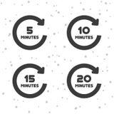 5, 10, 15 e 20 icone di rotazione di minuti Simboli del temporizzatore illustrazione vettoriale