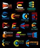 E ikon gatunku i firmy korporacyjnej tożsamości znaki ilustracja wektor
