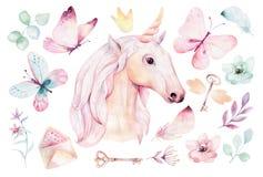 E Illustrazione degli unicorni della scuola materna r trendy illustrazione vettoriale