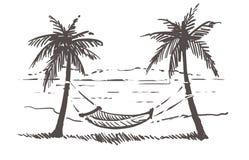 E Illustrazione disegnata a mano di schizzo di Samui fotografia stock libera da diritti