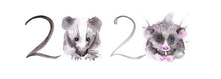 E Ilustração abstrata dos números para o calendário Em vez dos zero, ratos bonitos watercolor imagem de stock royalty free