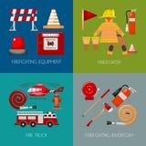 E Iniform e inventario del bombero Casco, guantes Equipo como boca de riego del firehose stock de ilustración