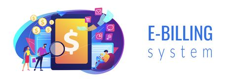 E-invoicing concept banner header. Clients with magnifier get e-invoicing and pay bills online. E-invoicing service, electronic invoicing, e-billing system and royalty free illustration
