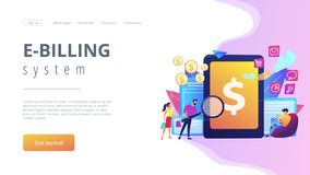 E-invoicing concept landing page. Clients with magnifier get e-invoicing and pay bills online. E-invoicing service, electronic invoicing, e-billing system and e stock illustration