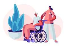 E Jeune infirmière Social Worker Care d'aîné malade la conduisant sur le fauteuil roulant, infirmière qualifiée illustration stock