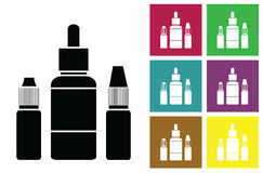 E-juice. Fluid for electronic cigarettes vector icon or color cards with bottles of liquid of electronic cigarettes. Stock Images