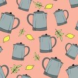 E Küchengeschirr gezeichnete eigenhändig Zwischenlage Ein Druck für verschiedene Oberflächen Rosa Hintergrund Eine Teekanne, vektor abbildung