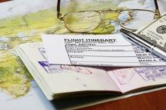 E-kaartje reisroute Stock Foto's