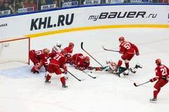 E. Katichev (26) and V. Tkachyov (55) fall down Stock Image