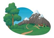 E Kleines Dorf mit grünen Wiesen und Hügel, Schotterweg, Kiefer und Büsche vektor abbildung
