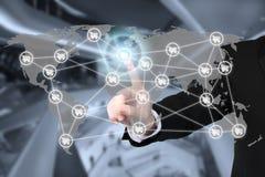 E-kommers affär och anslutning för globalt nätverk Arkivbilder