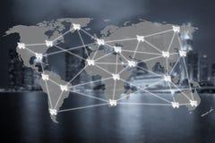 E-kommers affär och anslutning för globalt nätverk Fotografering för Bildbyråer