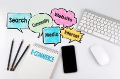 E-kommers, bakgrundsbegrepp Tabell för kontorsskrivbord med datoren, Smartphone och anteckningsboken Royaltyfria Bilder