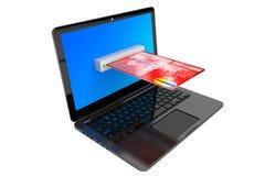 E-kommers begrepp. Bärbar datordator och kreditkort Fotografering för Bildbyråer