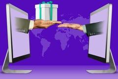 E-kommers begrepp, två händer från bärbara datorer hand med gåvaasken och pläderagest illustration 3d royaltyfri illustrationer