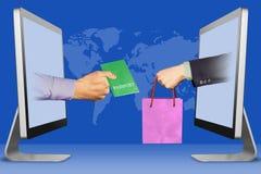 E-kommers begrepp, tv? h?nder fr?n bildsk?rmar pass och hand med shoppingpåsen illustration 3d vektor illustrationer
