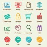 E-kommers beståndsdelar royaltyfri illustrationer