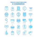 E-kommers blått Tone Icon Pack - 25 symbolsuppsättningar royaltyfri illustrationer