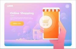 E-kommers elektronisk aff?r, online-shopping, betalning, leverans, s?ndningsprocess, f?rs?ljningar Infographic begreppsvektor royaltyfri illustrationer