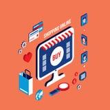 E-kommers för affär för plan isometrisk shopping för design 3d online-lyckat begrepp stock illustrationer