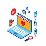 E-kommers för affär för plan isometrisk shopping för modern design 3d online-lyckat begrepp royaltyfri illustrationer