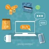 E-kommers för lager för begrepp för internetshoppingköp nu online- vektor illustrationer