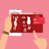 E-kommers för shopping för modekvinna teknologi för betalning för transaktion för mobil smart telefon royaltyfri illustrationer