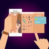 E-kommers för shopping för sminkskönhetkvinna teknologi för betalning för transaktion för mobil smart telefon stock illustrationer