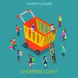 E-kommers för shoppingvagn konsumenter sänker vektorn isometrisk 3d stock illustrationer