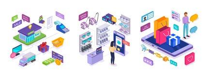 E-kommers Försäljningar i marknad och direktanslutet att shoppa, digital marknadsföring, mobil applikation royaltyfri illustrationer
