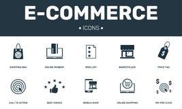 E-kommers fastställd symbolssamling Inkluderar enkla beståndsdelar liksom önskelista, marknadsplats, online-betalning, lön per kl stock illustrationer