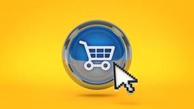 E-kommers glansig symbol som shoppar bilen med muscursort framförande 3d stock illustrationer