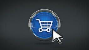 E-kommers glansig symbol som shoppar bilen med muscursort framförande 3d royaltyfri illustrationer