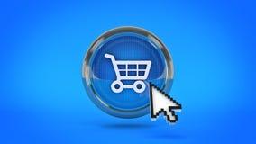 E-kommers glansig symbol som shoppar bilen med muscursort framförande 3d vektor illustrationer