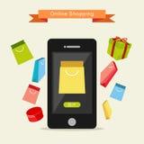 E-kommers illustration Online-shoppingillustration royaltyfri illustrationer