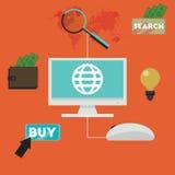 E-kommers infographic begrepp av att inhandla produkten via internetvektordesign Fotografering för Bildbyråer