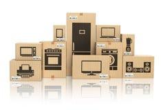 E-kommers, internetonline-shopping och leveransbegrepp Hus royaltyfri illustrationer
